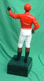 red black face lawn jockey photo, kentucky derby jockey antique