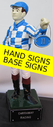 lawn jockey statue signs and plaques