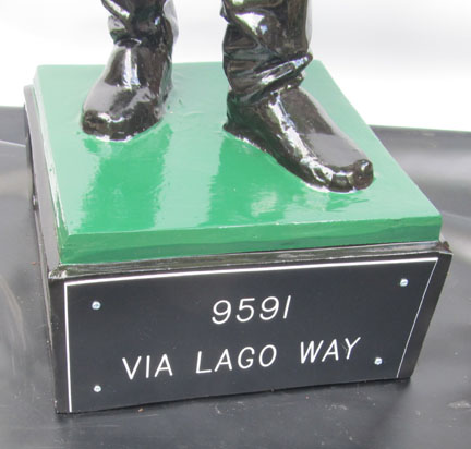 front lawn jockey base plaque