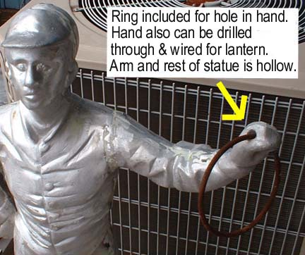 view of arm and ring of unfinished jockey statue