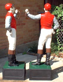 view of back of fully painted jockey statue