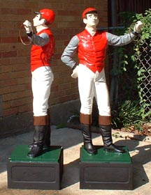 view of front of fully painted jockey statue