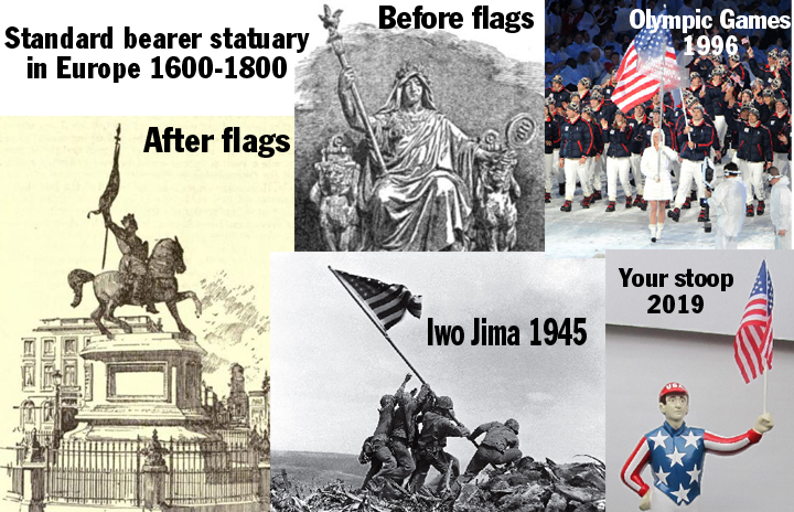 standard bearer statues holding standards and flags