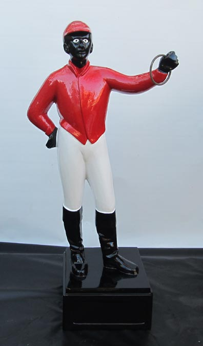 19th century legends of the turf red lawn jockey black face statue African American statuary