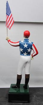 American flag standard bearer Jockey statues painted like US flag uncle sam patriotic statue trump 2020statue