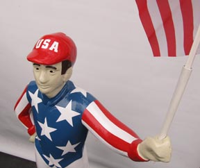 Olympics  Donald trump Jockey statues painted like US flag uncle sam statue