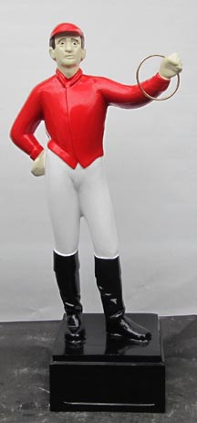 white horse racing jockey statue replica reproduction caucasian eurpoean 1940s streamlined style