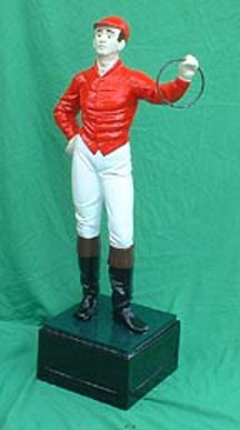 white caucasian lawn jockey statue Photo jpg gif image